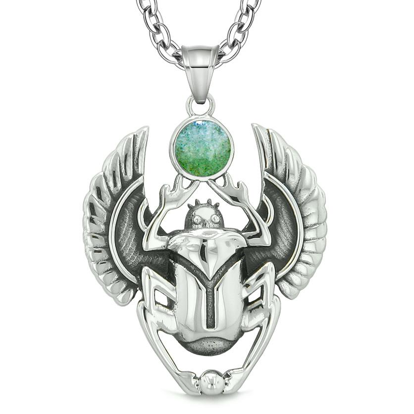 Amulet Egyptian Scarab Rebirth Spiritual Life Magic Powers Green Quartz Pendant 22 Inch Necklace