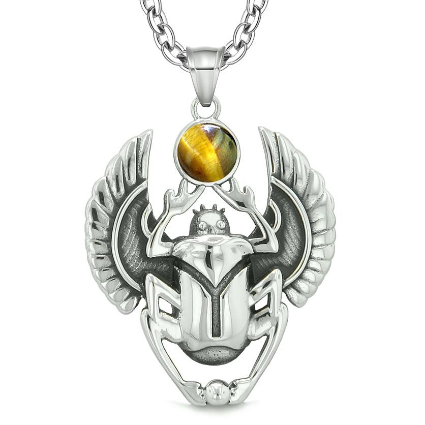 Amulet Egyptian Scarab Rebirth Spiritual Life Magic Powers Tiger Eye Pendant 18 Inch Necklace