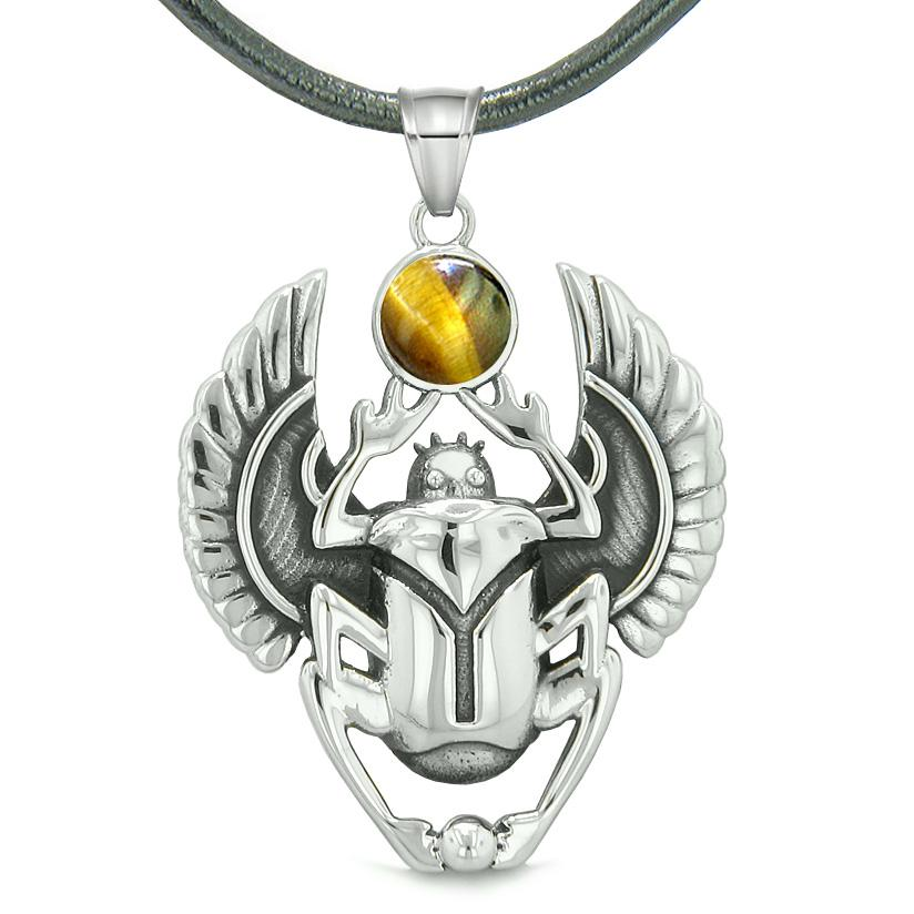 Amulet Egyptian Scarab Rebirth Spiritual Life Magic Powers Tiger Eye Pendant Leather Necklace