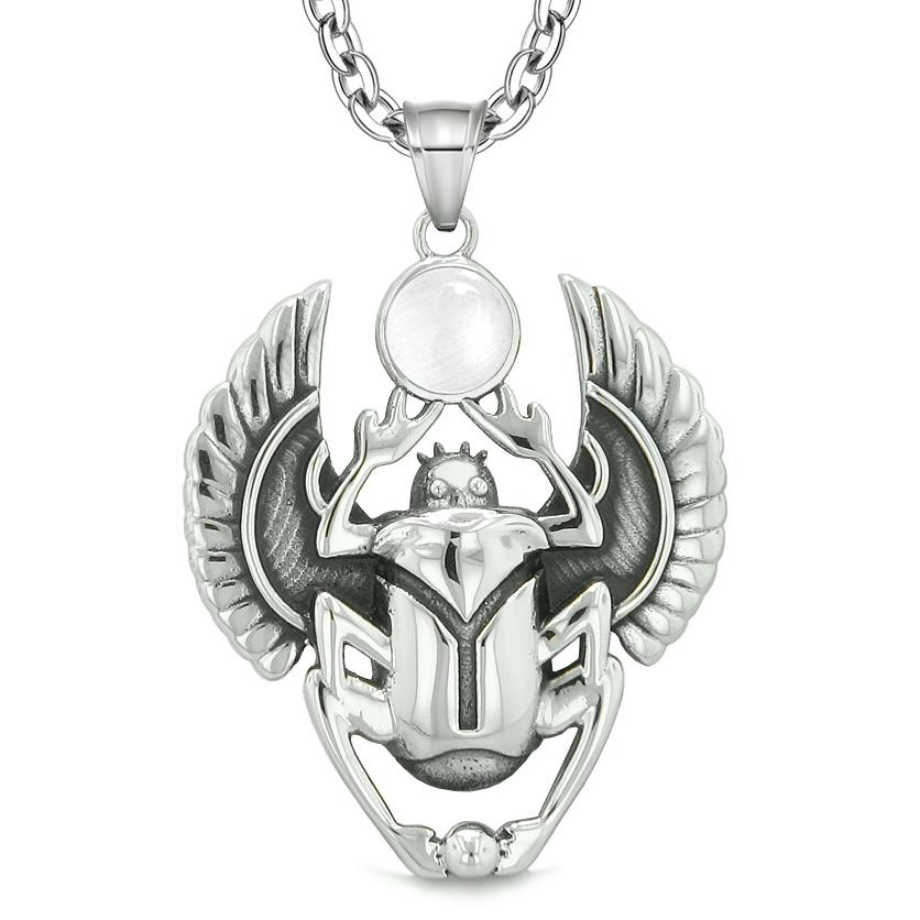 Amulet Egyptian Scarab Rebirth Spiritual Life Powers White Simulated Cats Eye Pendant Necklace