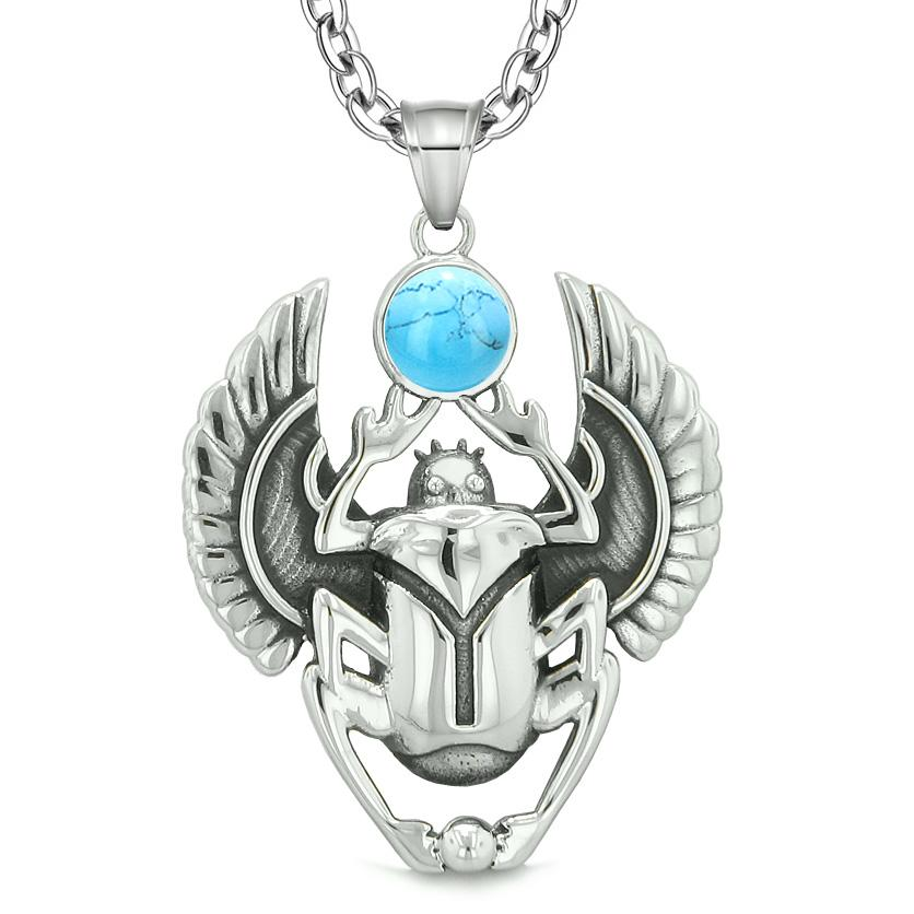 Amulet Egyptian Scarab Rebirth Spiritual Life Magic Powers Simulated Turquoise Pendant Necklace