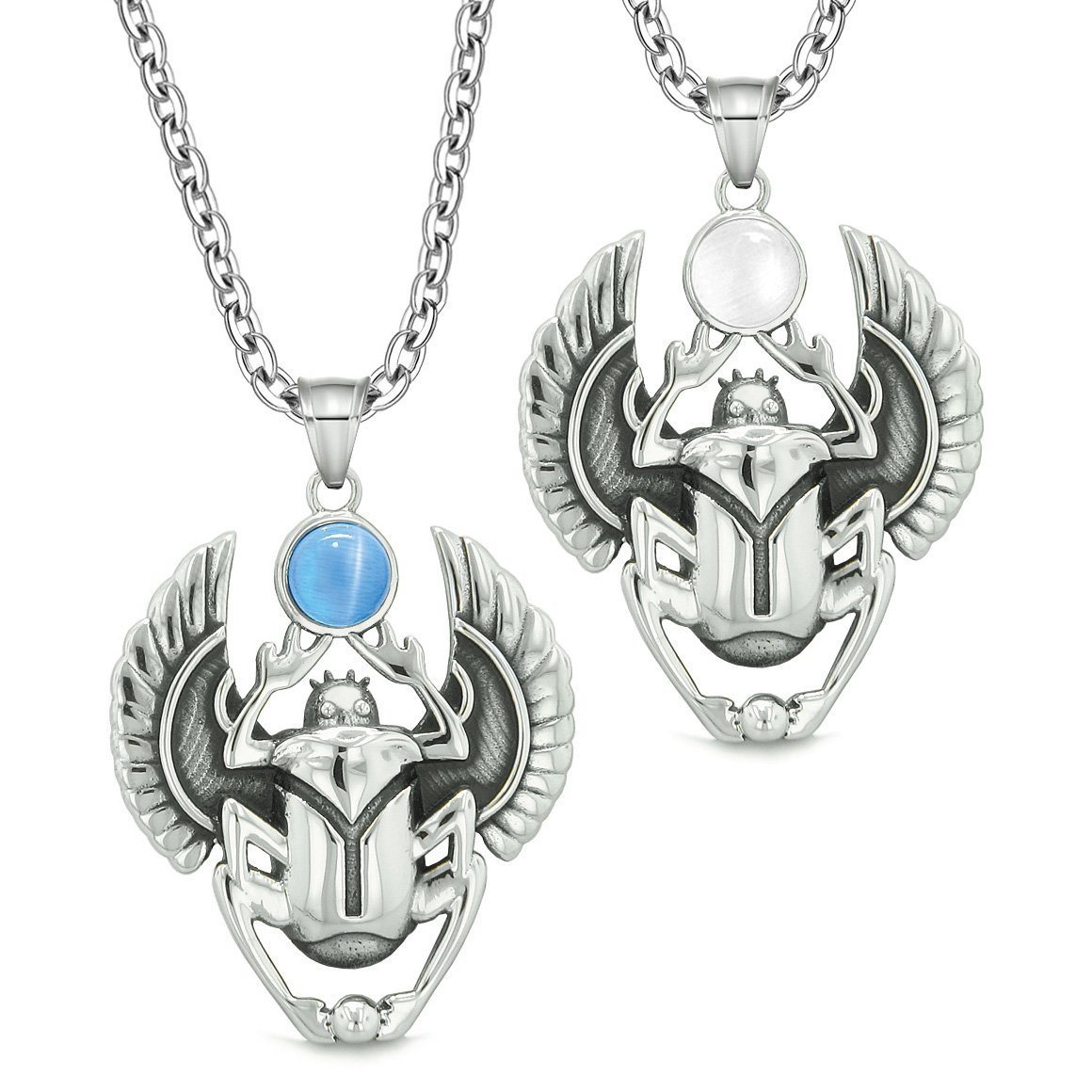 Scarab Egyptian Rebirth Spiritual Life Amulets Couples Set Blue White Simulated Cats Eye Necklaces