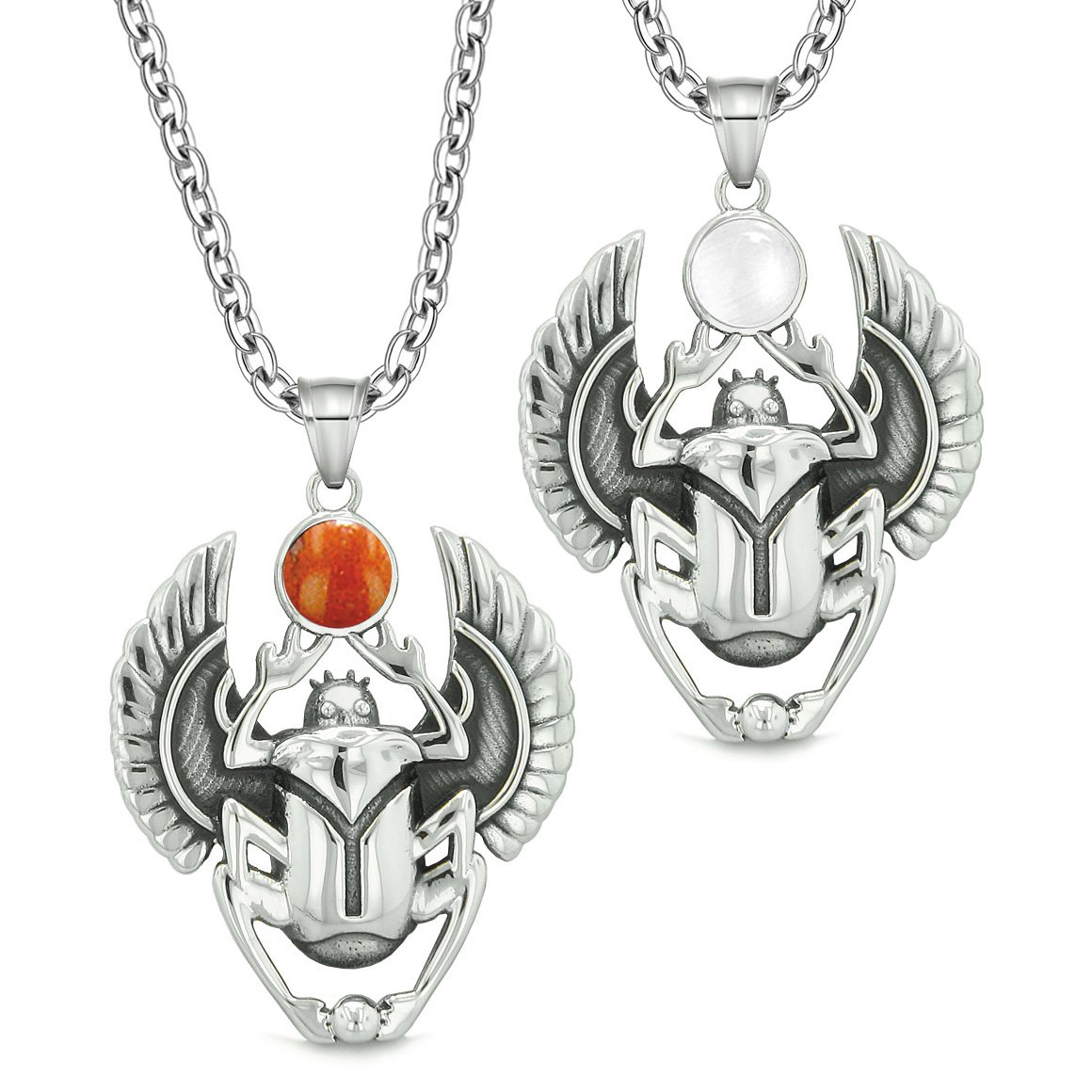 Scarab Egyptian Rebirth Spiritual Life Amulets Couples Red Jasper White Simulated Cat Eye Necklaces