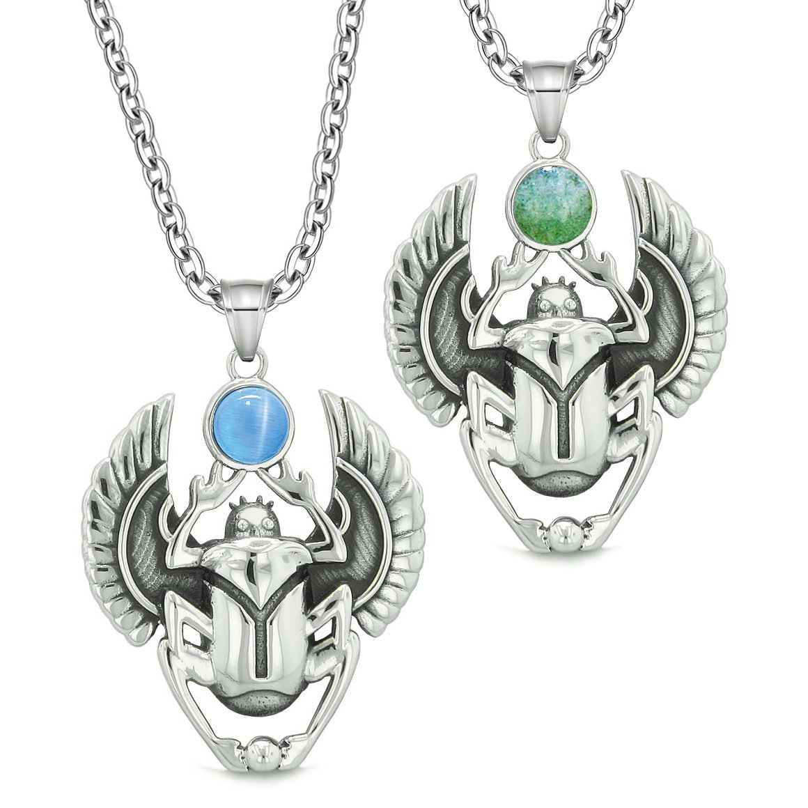 Scarab Egyptian Rebirth Spiritual Life Amulet Couples Green Quartz Blue Simulated Cat Eye Necklaces
