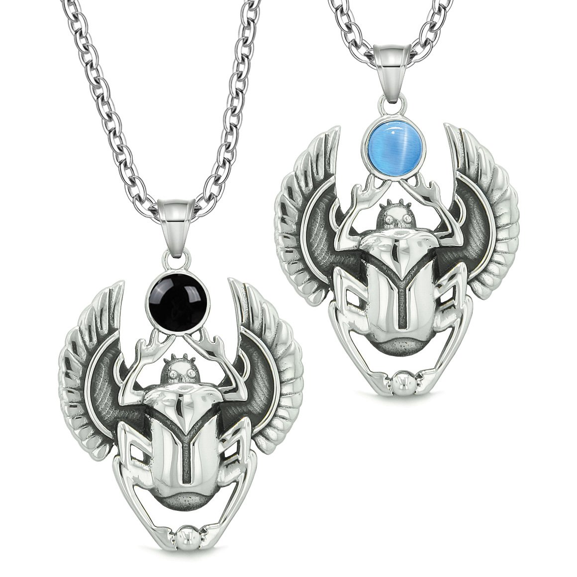 Scarab Egyptian Rebirth Spiritual Amulets Couples Simulated Onyx Blue Simulated Cats Eye Necklaces
