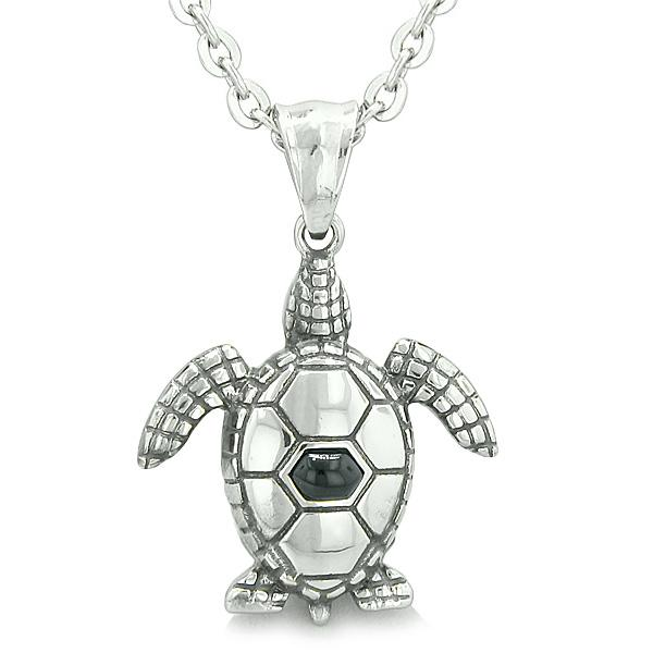 "Amulet Sea Turtle Cute Man Made Black Onyx Crystal Lucky Charm Pendant on 22"" Necklace"