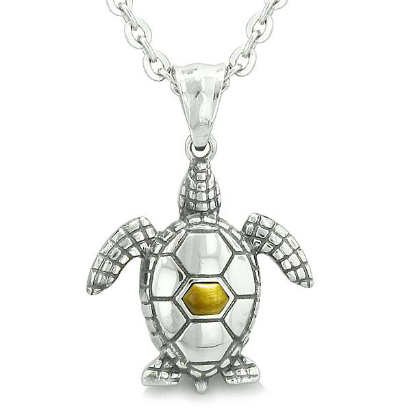 "Amulet Sea Turtle Cute Tiger Eye Crystal Lucky Charm Pendant on 18"" Necklace"