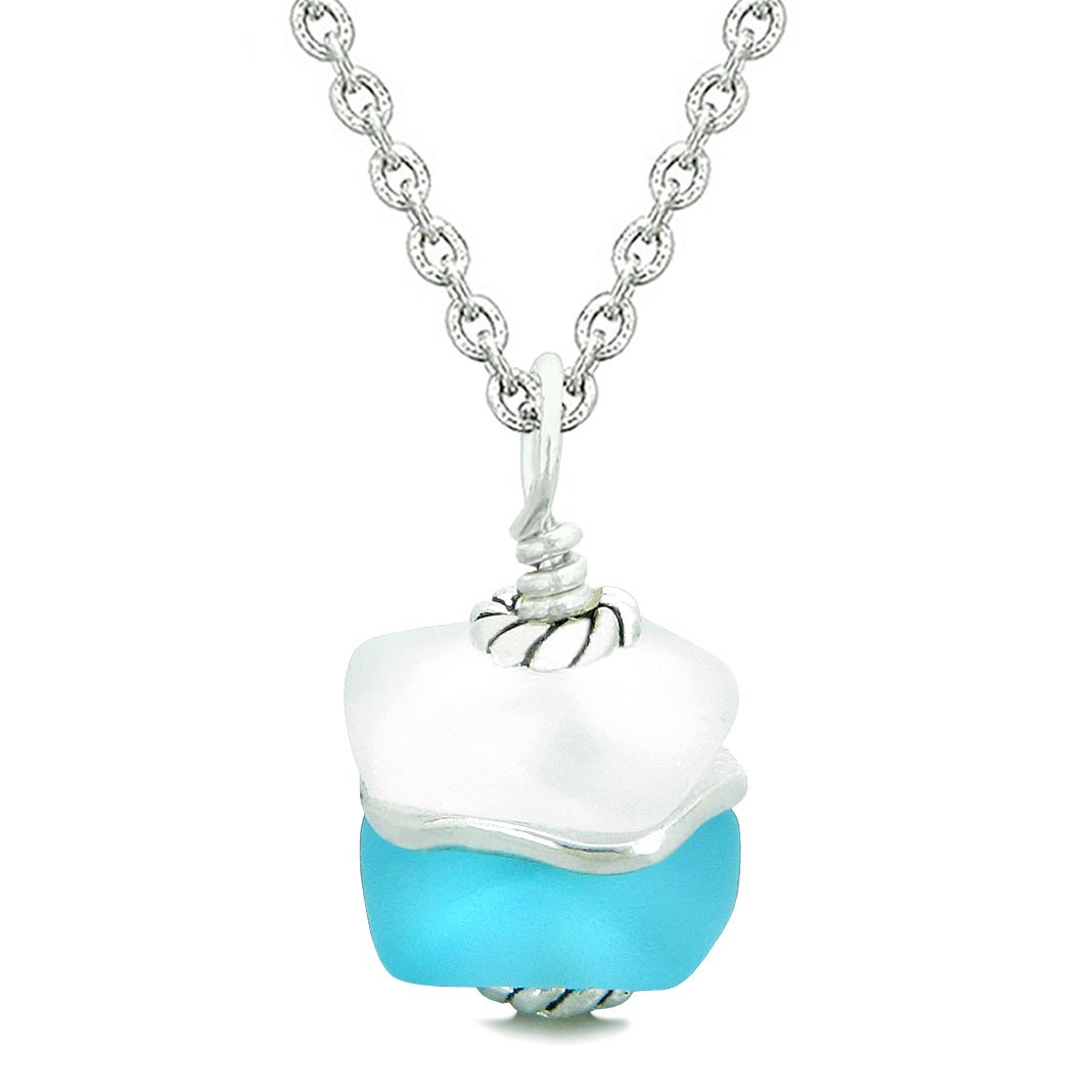 Sea Glass Icy Frosted Waves Double Lucky Sky Blue White Positive Energy Amulet Pendant 18 Inch Necklace