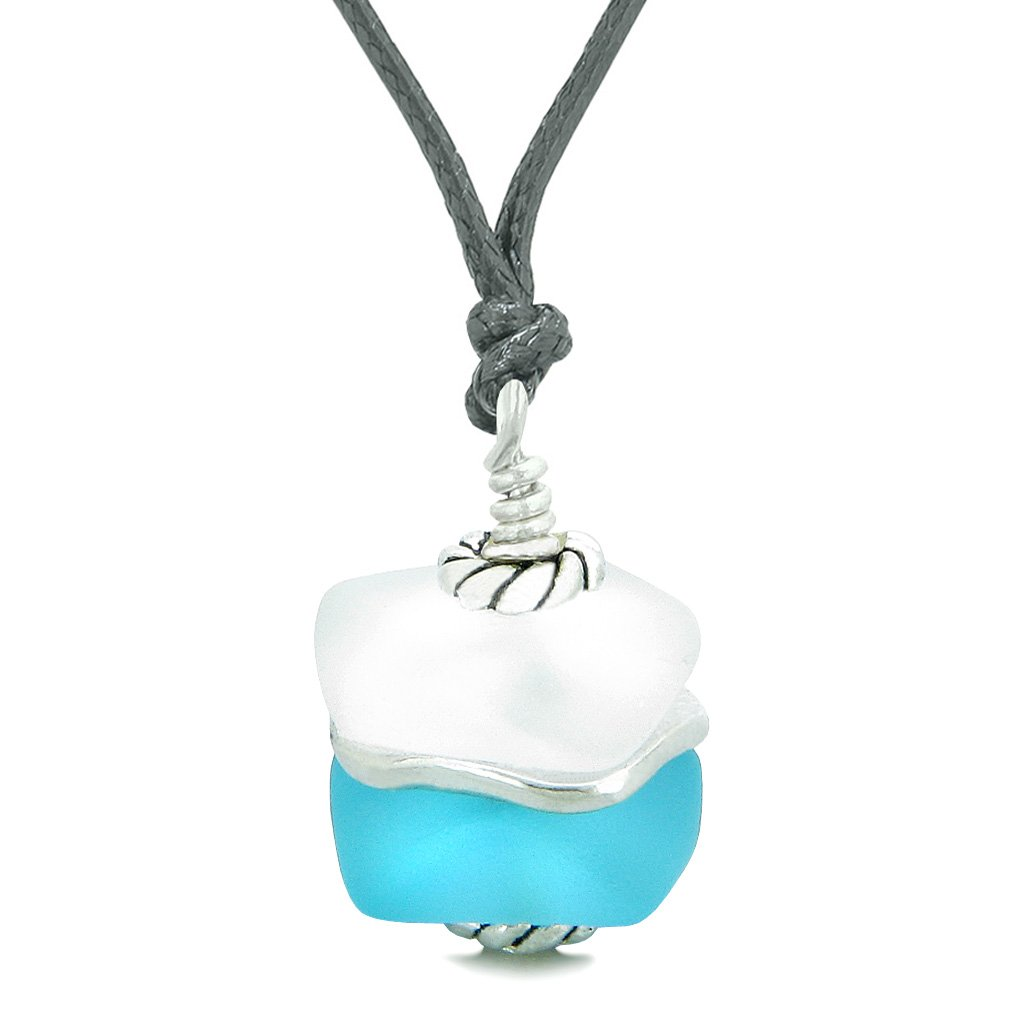 Sea Glass Icy Frosted Waves Double Lucky Sky Blue White Positive Energy Amulet Pendant Adjustable Necklace