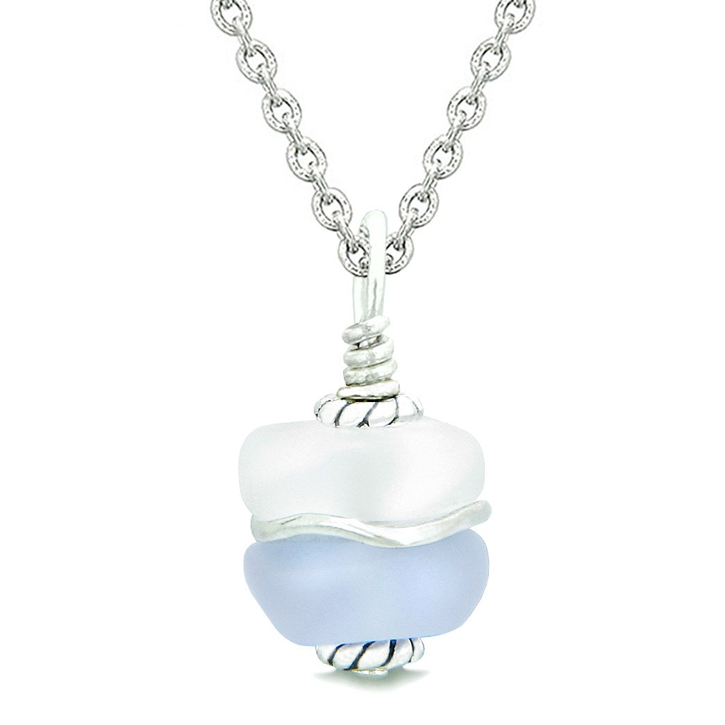 Sea Glass Icy Frosted Waves Double Lucky Purple White Positive Energy Amulet Pendant 18 Inch Necklace