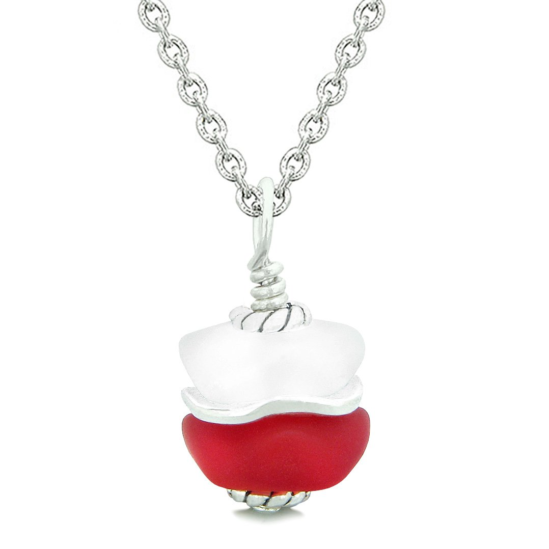 Sea Glass Icy Frosted Waves Double Lucky Red White Positive Energy Amulet Pendant 18 Inch Necklace