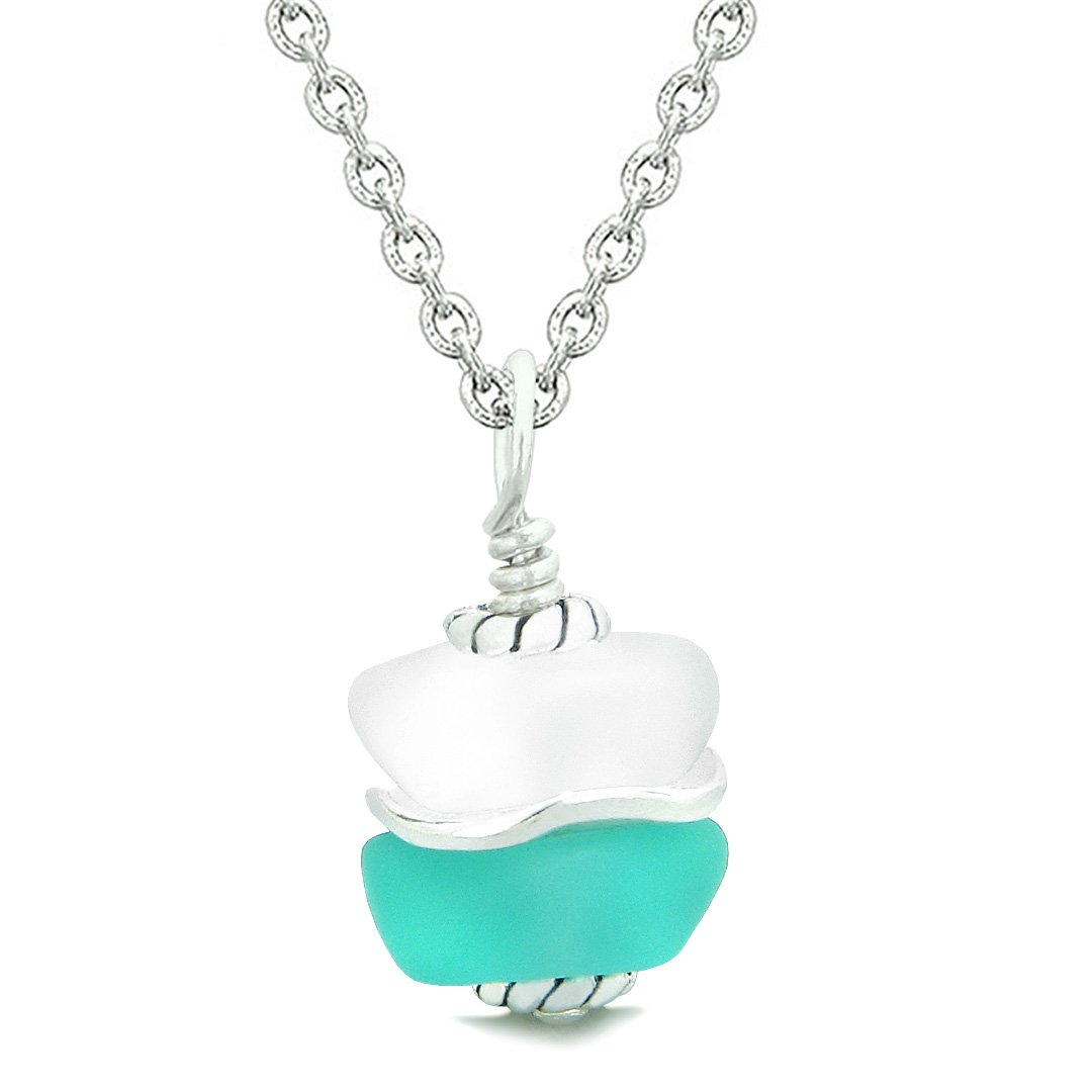 Sea Glass Icy Frosted Waves Double Lucky Aqua Blue White Positive Energy Amulet Pendant 22 Inch Necklace