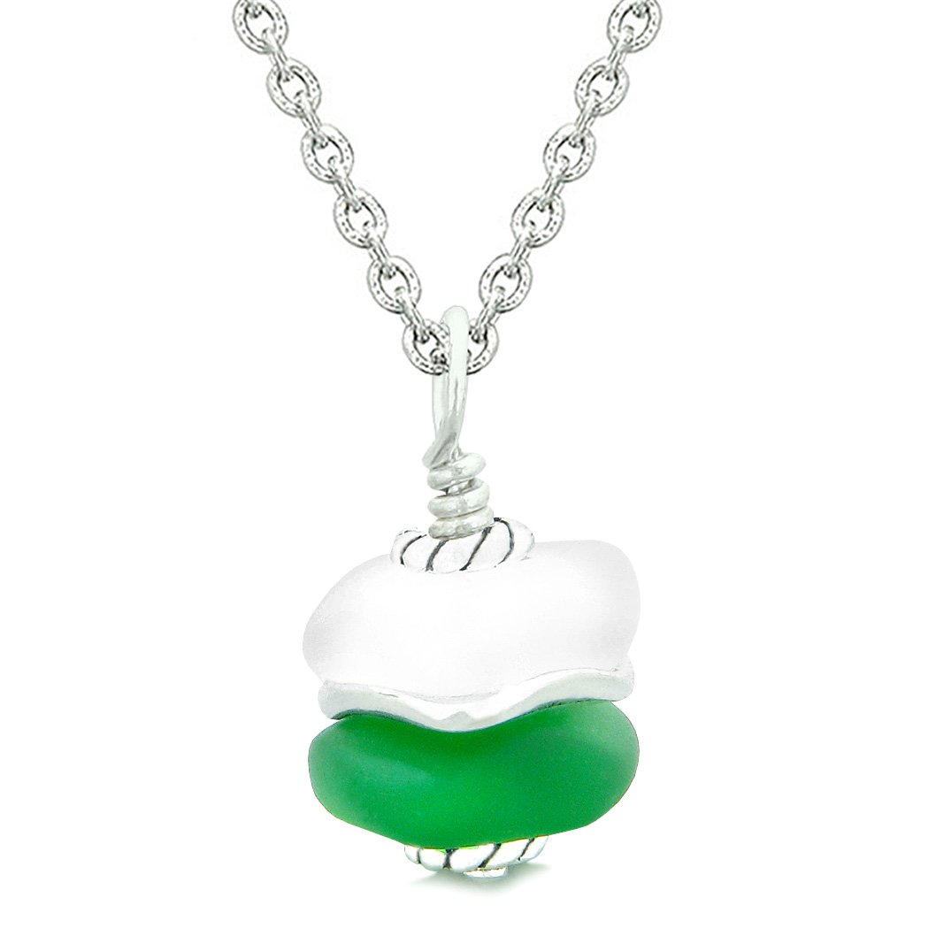 Sea Glass Icy Frosted Waves Double Lucky Green White Positive Energy Amulet Pendant 18 Inch Necklace
