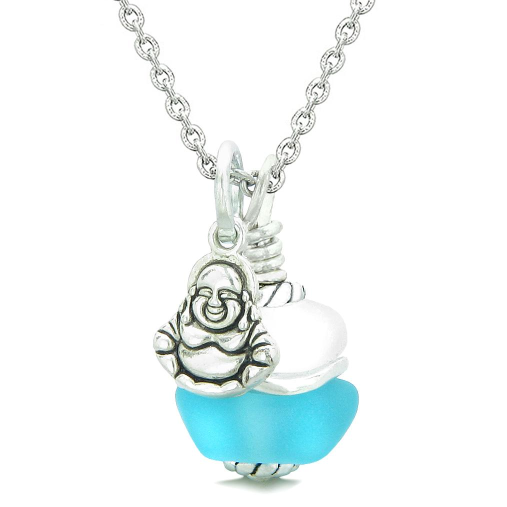 Sea Glass Icy Frosted Waves Lucky Buddha Sky Blue White Positive Energy Amulet 18 Inch Necklace