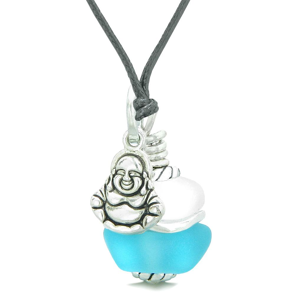 Sea Glass Icy Frosted Waves Lucky Buddha Sky Blue White Positive Energy Amulet Adjustable Necklace