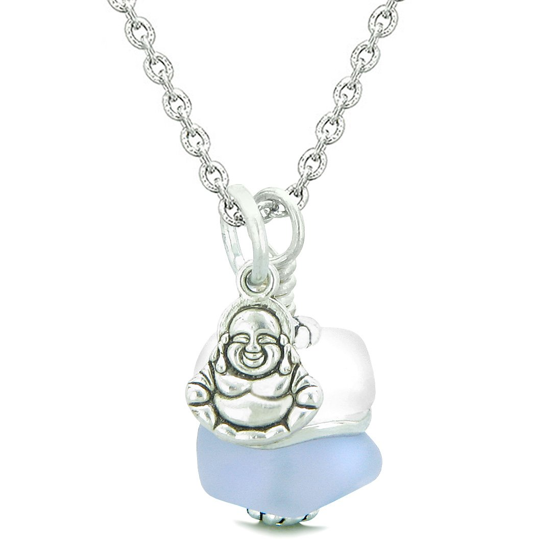 Sea Glass Icy Frosted Waves Lucky Buddha Purple White Positive Energy Amulet 22 Inch Necklace