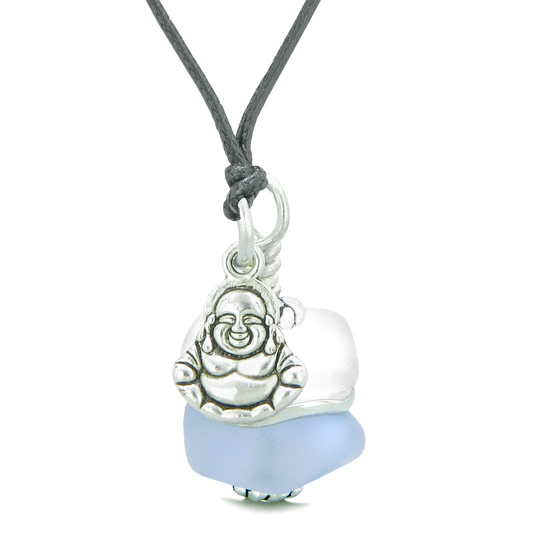 Sea Glass Icy Frosted Waves Lucky Buddha Purple White Positive Energy Amulet Adjustable Necklace