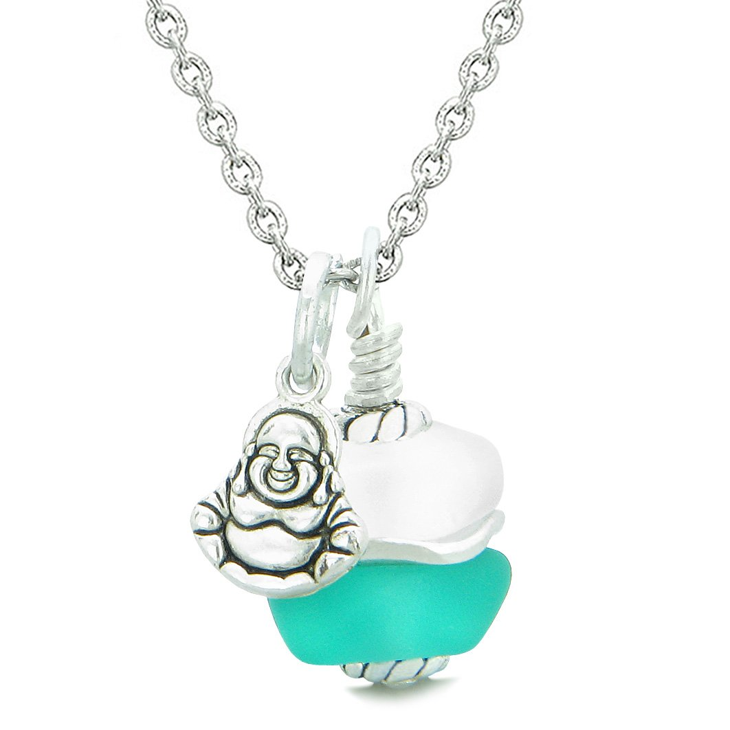 Sea Glass Icy Frosted Waves Lucky Buddha Aqua Blue White Positive Energy Amulet 18 Inch Necklace