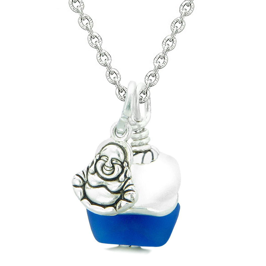 Sea Glass Icy Frosted Waves Lucky Buddha Ocean Blue White Positive Energy Amulet 18 Inch Necklace