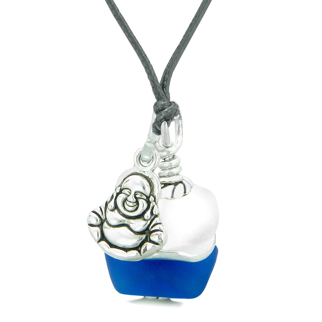 Sea Glass Icy Frosted Waves Lucky Buddha Ocean Blue White Positive Energy Amulet Adjustable Necklace