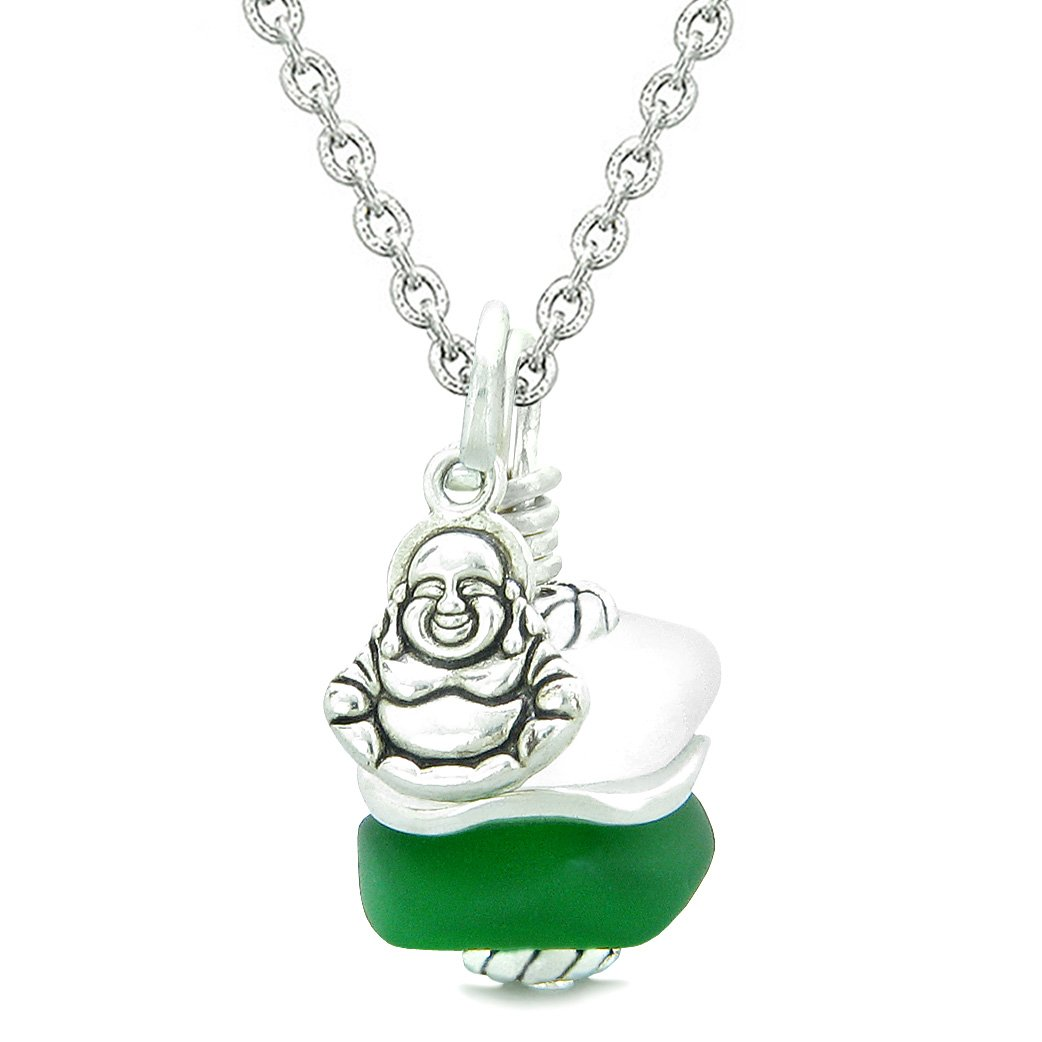 Sea Glass Icy Frosted Waves Lucky Buddha Forest Green White Positive Energy Amulet 18 Inch Necklace