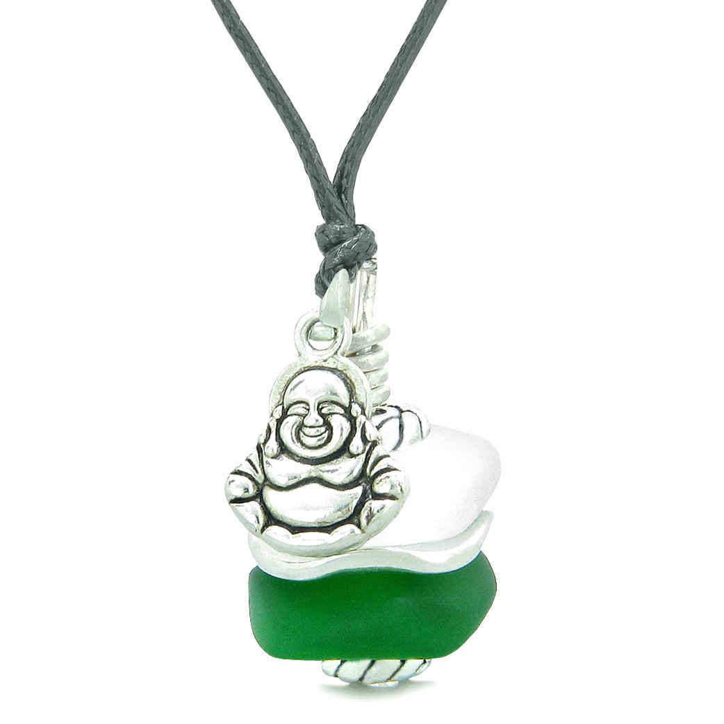 Sea Glass Icy Frosted Waves Lucky Buddha Forest Green White Positive Energy Amulet Adjustable Necklace