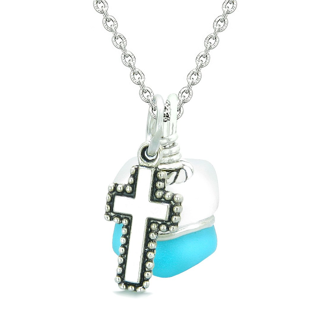 Sea Glass Icy Frosted Waves Holy Cross Sky Blue White Positive Energy Amulet 22 Inch Necklace