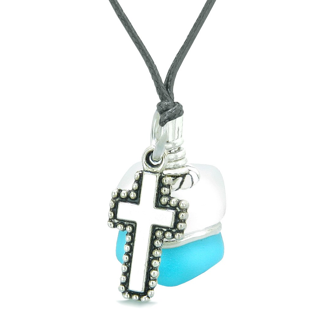 Sea Glass Icy Frosted Waves Holy Cross Sky Blue White Positive Energy Amulet Adjustable Necklace