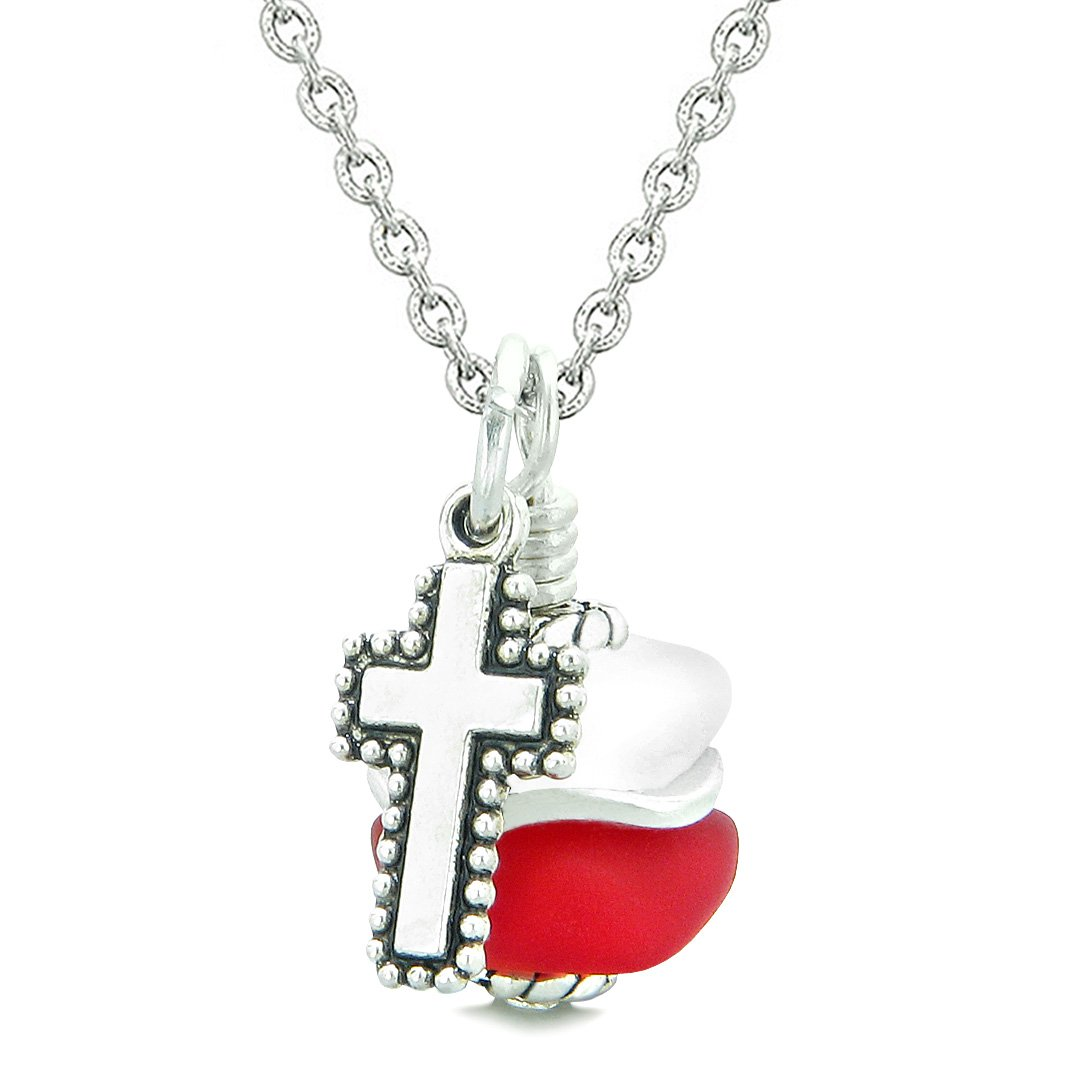 Sea Glass Icy Frosted Waves Holy Cross Royal Red White Positive Energy Amulet 22 Inch Necklace
