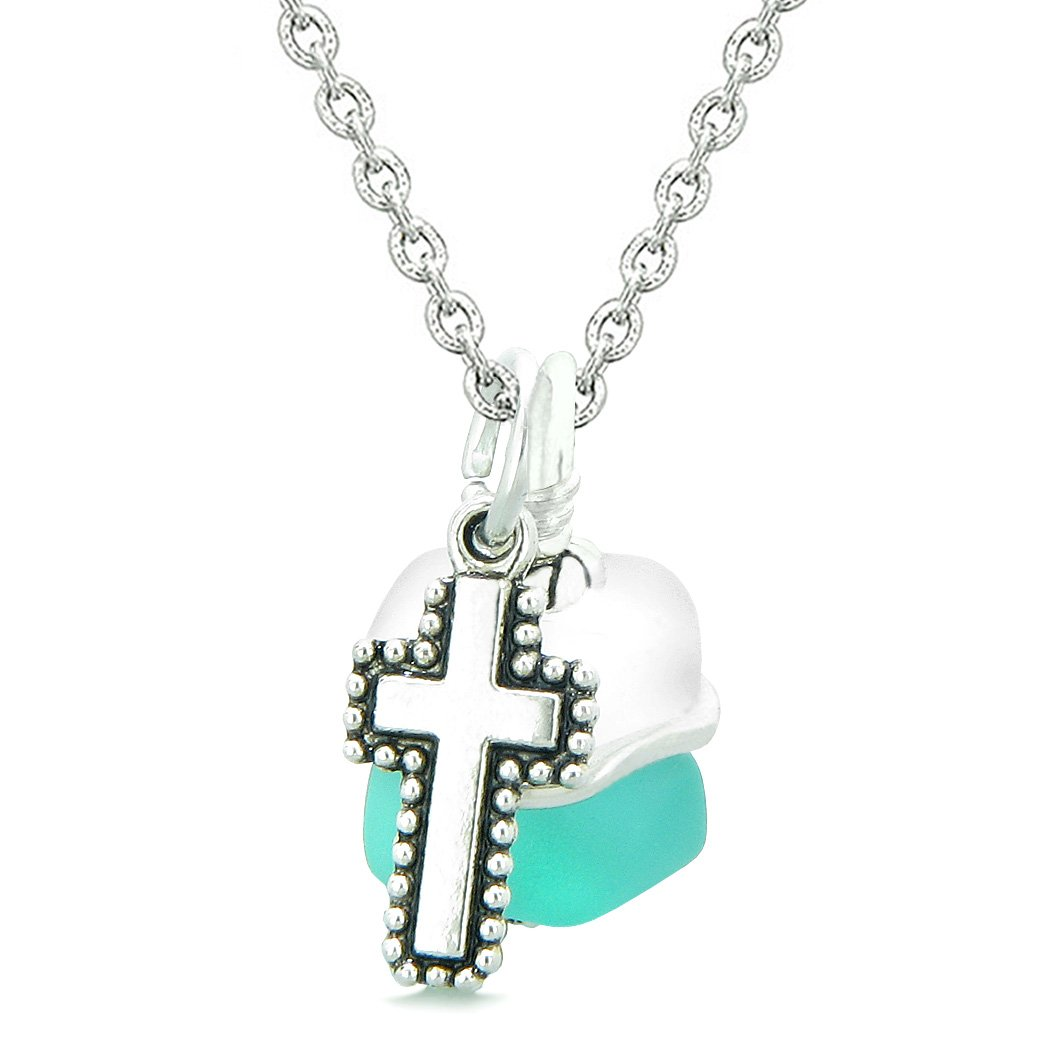 Sea Glass Icy Frosted Waves Holy Cross Aqua Blue White Positive Energy Amulet 18 Inch Necklace