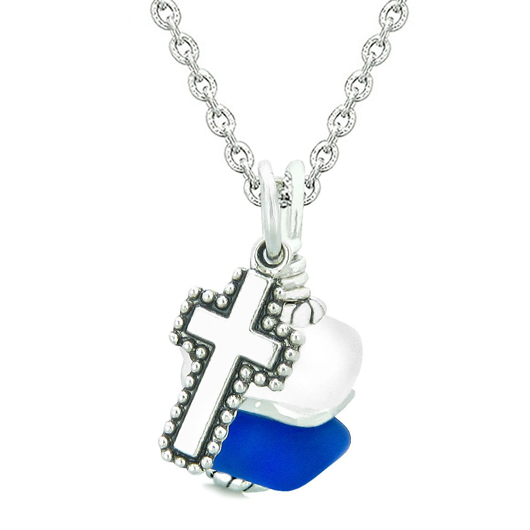Sea Glass Icy Frosted Waves Holy Cross Ocean Blue White Positive Energy Amulet 18 Inch Necklace
