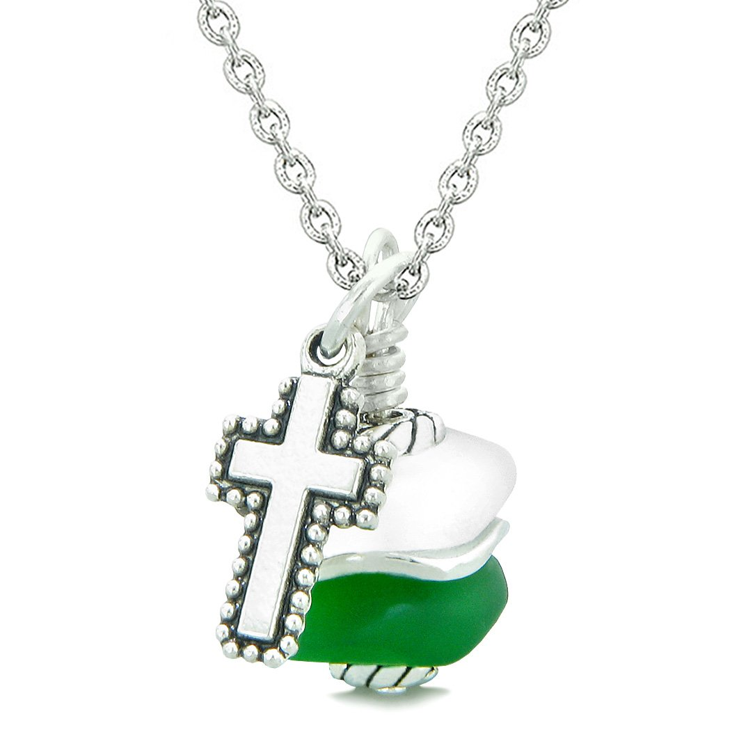 Sea Glass Icy Frosted Waves Holy Cross Forest Green White Positive Energy Amulet 18 Inch Necklace