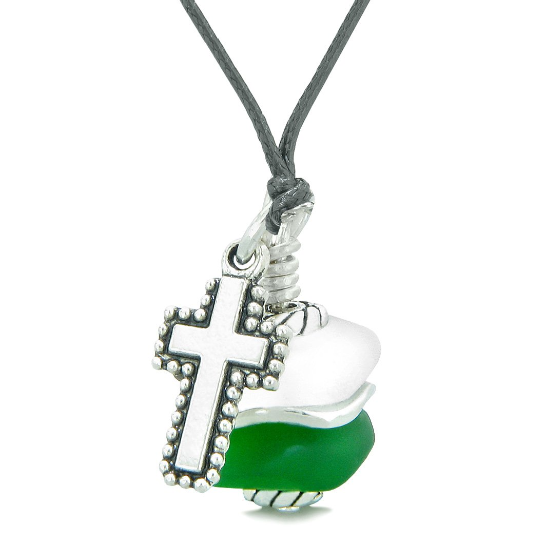 Sea Glass Icy Frosted Waves Holy Cross Forest Green White Positive Energy Amulet Adjustable Necklace