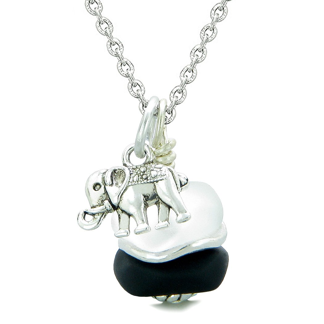 Sea Glass Icy Frosted Waves Lucky Elephant Black White Positive Energy Amulet 22 Inch Necklace