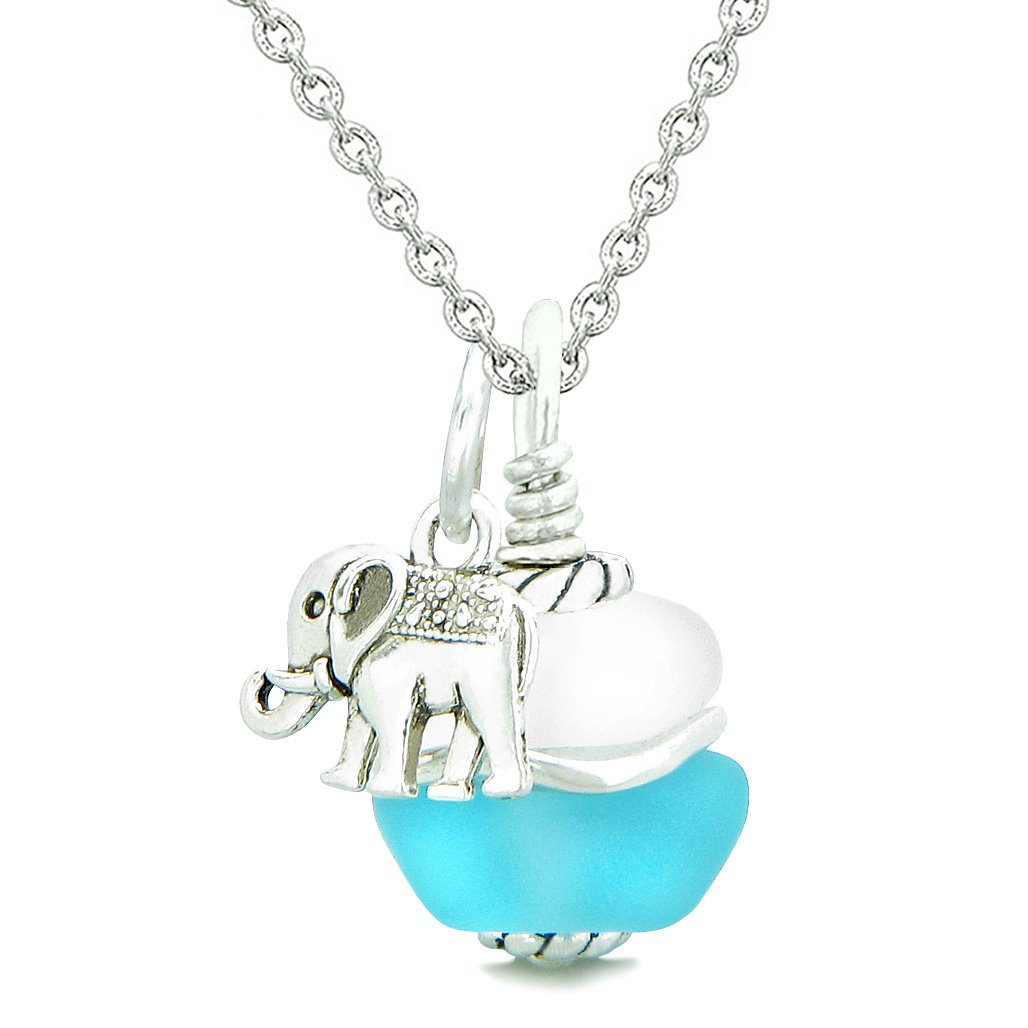 Sea Glass Icy Frosted Waves Lucky Elephant Sky Blue White Positive Energy Amulet 22 Inch Necklace