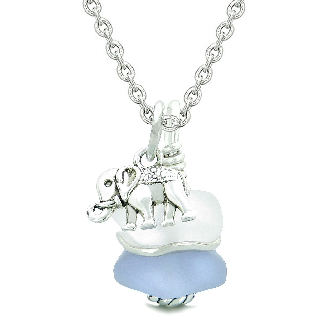Sea Glass Icy Frosted Waves Lucky Elephant Purple White Positive Energy Amulet 18 Inch Necklace