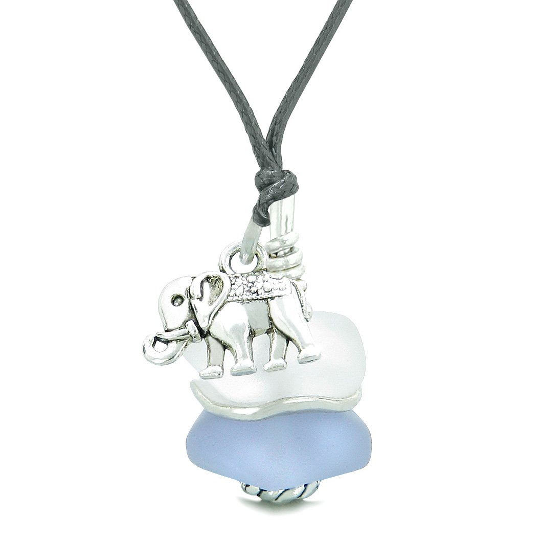 Sea Glass Icy Frosted Waves Lucky Elephant Purple White Positive Energy Amulet Adjustable Necklace