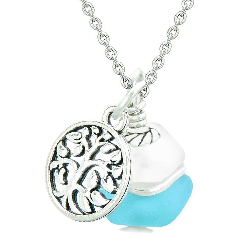 Sea Glass Icy Frosted Waves Lucky Tree of Life Sky Blue White Positive Energy Amulet 22 Inch Necklace