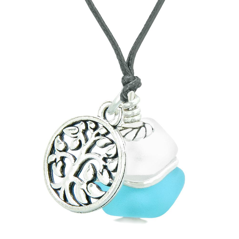 Sea Glass Icy Frosted Waves Lucky Tree of Life Sky Blue White Positive Energy Amulet Adjustable Necklace