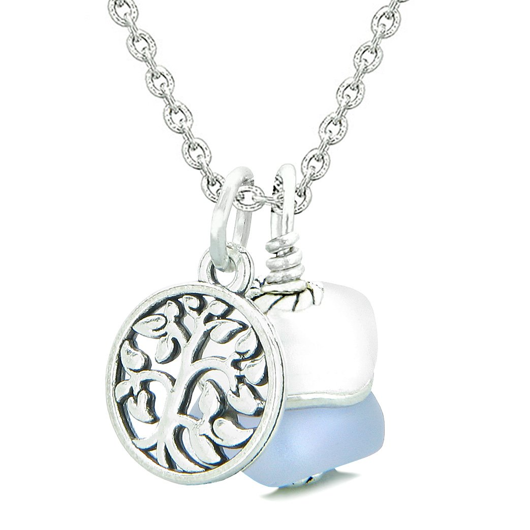Sea Glass Icy Frosted Waves Lucky Tree of Life Purple White Positive Energy Amulet 18 Inch Necklace