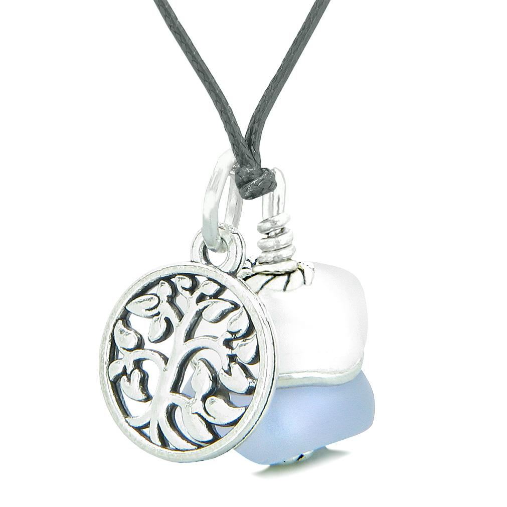 Sea Glass Icy Frosted Waves Lucky Tree of Life Purple White Positive Energy Amulet Adjustable Necklace