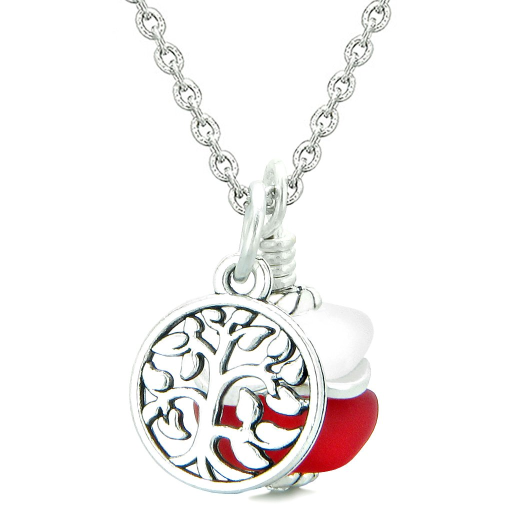 Sea Glass Icy Frosted Waves Lucky Tree of Life Royal Red White Positive Energy Amulet 22 Inch Necklace