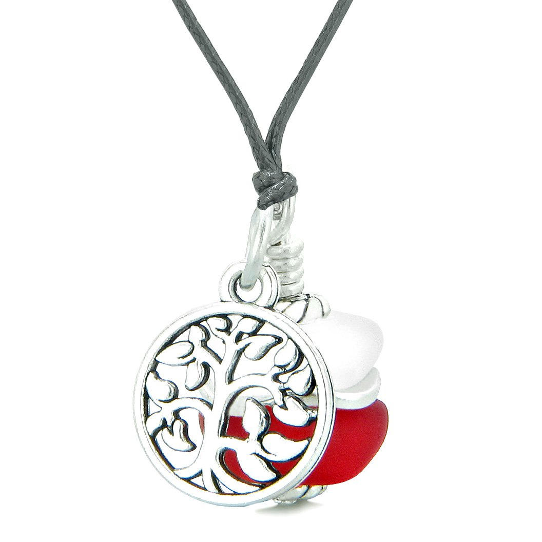 Sea Glass Icy Frosted Waves Lucky Tree of Life Royal Red White Positive Energy Amulet Adjustable Necklace