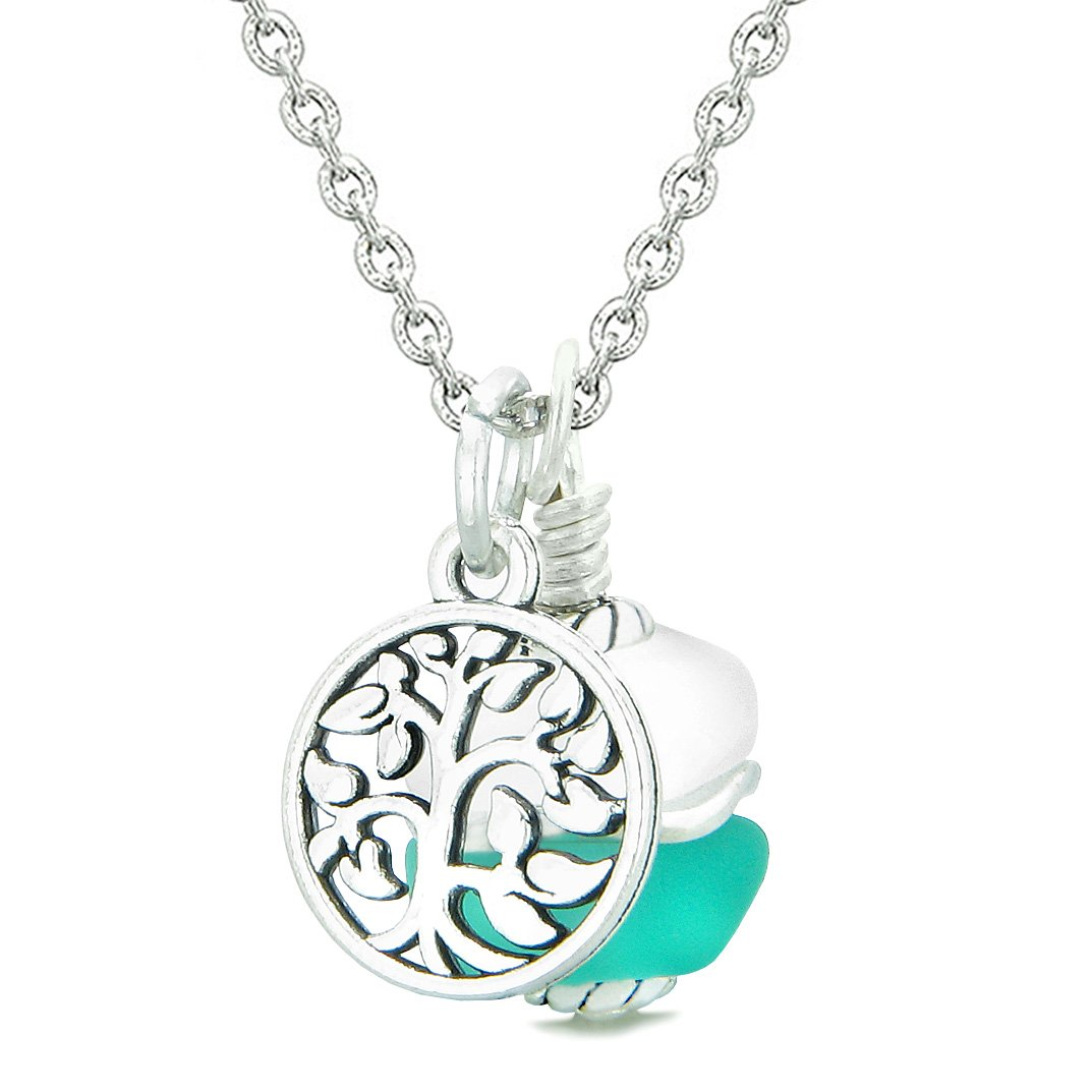 Sea Glass Icy Frosted Waves Lucky Tree of Life Aqua Blue White Positive Energy Amulet 18 Inch Necklace