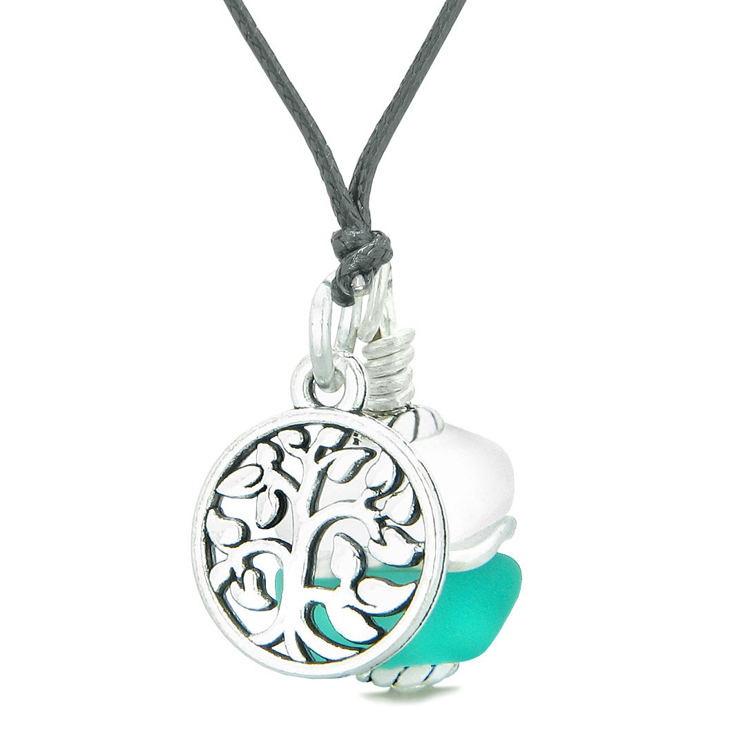 Sea Glass Icy Frosted Waves Lucky Tree of Life Aqua Blue White Positive Energy Amulet Adjustable Necklace