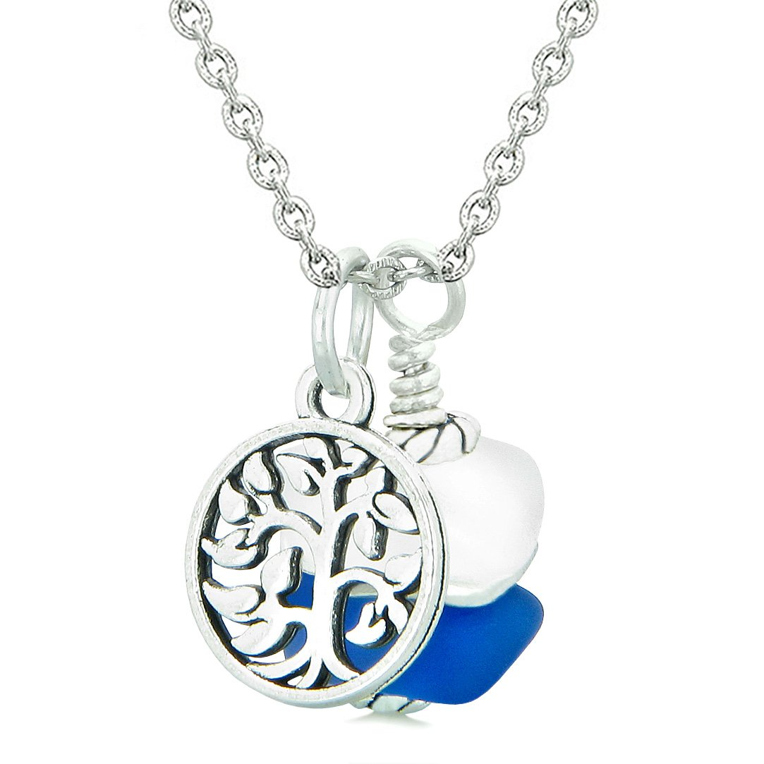 Sea Glass Icy Frosted Waves Lucky Tree of Life Ocean Blue White Positive Energy Amulet 22 Inch Necklace