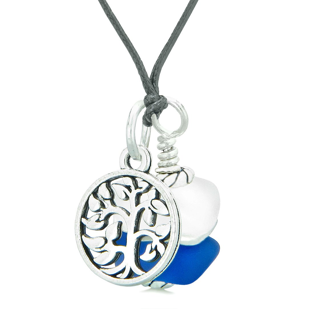 Sea Glass Icy Frosted Waves Lucky Tree of Life Ocean Blue White Positive Energy Amulet Adjustable Necklace