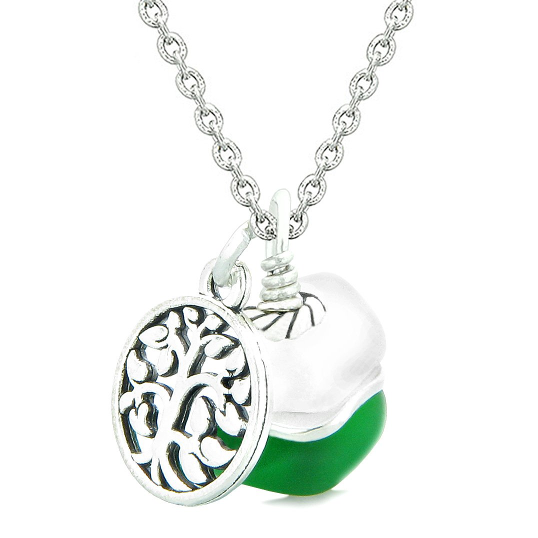 Sea Glass Icy Frosted Waves Lucky Tree of Life Forest Green White Positive Energy Amulet 18 Inch Necklace