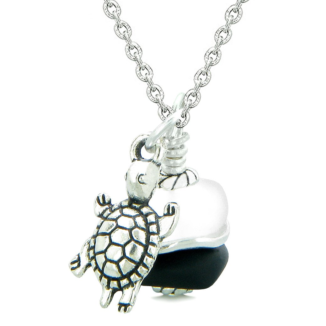 Sea Glass Icy Frosted Waves Lucky Turtle Black White Positive Energy Amulet 18 Inch Necklace