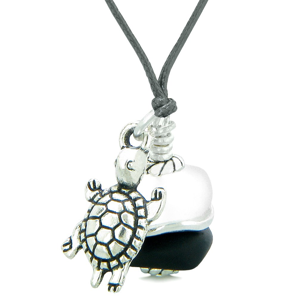 Sea Glass Icy Frosted Waves Lucky Turtle Black White Positive Energy Amulet Adjustable Necklace